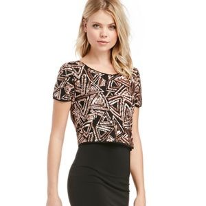 Lucy Paris gold firefly sequined cropped top. Sz M